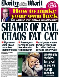 Daily Mail front page, 29/12/14