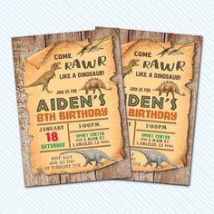 Digital Printable Dinosaur Birthday Invitation. Rawr party.