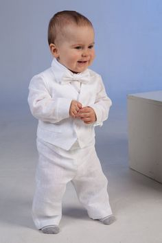 baby boy linen suit ring bearer outfit boy baptism outfit first
