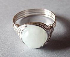 Green Jade Ring Seafoam Green Ring Mint Green by PepperandPomme