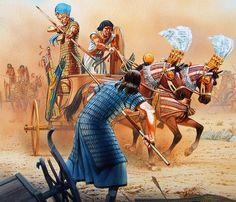 Thutmose III At Battle of Megiddo - Egyptian Art - Handmade Oil Painting On Canvas Egyptian Kings, Ancient Egyptian Art, Ancient History, Battle Of Kadesh, Arabian Art, Ancient Near East, Oil Painting On Canvas, Illustrations, Egyptians