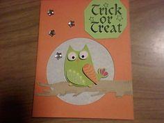 Sticker owl on drawn branch & gems