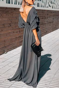 Product Details: V-neck Ruffled Sleeves Empired Waistline A-Line Maxi Dress for Evening Size Chart: Size Bust Waist Hips inch cm inch cm inch cm S 36 M L XL 3 Elegant Outfit, Elegant Dresses, Casual Dresses, Trendy Outfits, Trendy Fashion, Womens Fashion, Satin Dresses, Gowns, Grey Dresses