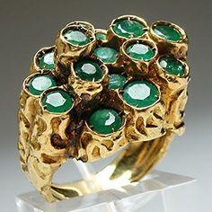 Vintage Natural Emerald Cluster Ring Solid 18K Gold - EraGem