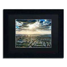 """Trademark Art 'Tel Aviv - Israel-IV' by David Ayash Framed Photographic Print Size: 11"""" H x 14"""" W, Matte Color: Black"""
