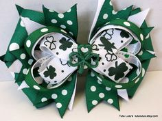 St. Patty's Day Hair Bow St. Patrick's Day Bow by TutuLulus