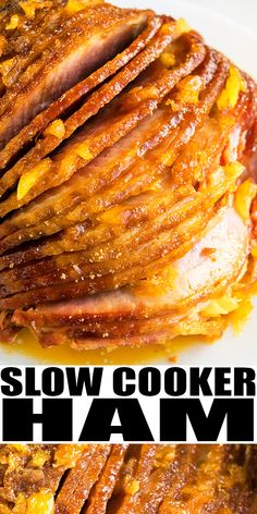 SLOW COOKER HAM RECIPE- The best, easy homemade crockpot ham with pineapples, brown sugar, ginger, garlic. Tender and juicy. Requires simple ingredients and great dinner for holidays. From SlowCookerFoodie.com #slowcooker #crockpot #ham #dinner #pineapples