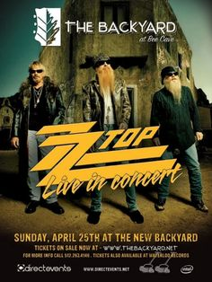 Check out ZZ Top Live in Concert at The Backyard Live Oak Amphitheater in Bee Cave on April 25, 2010 and get detailed info for the event - tickets, photos, video and reviews.