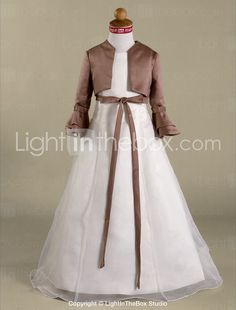 A-line Floor-length Satin Organza Flower Girl Dress - USD  97.99