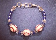 Red White & Blue Baseball Bracelet by AllMyAdornments on Etsy, $7.00