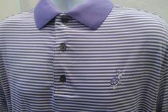 FOOTJOY-Lavendar-Purple-White-Stripe-Golf-Polo-Medium-Golfing-Turtle