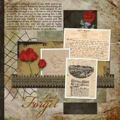 Memories In Time - Digital Scrapbooking - Family History. Wonderful remembrance page by Dawn-in-NZ. Products: Angles & Stacks QC, Anzac Memories, Time for Remembrance and Time in a Bottle by Lauren Bavin Tree Templates, Scrapbook Templates, Scrapbook Layouts, Scrapbook Pages, Heritage Scrapbooking, Scrapbooking Ideas, Digital Scrapbooking, Anzac Day, Remembrance Day
