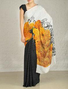 Marigold Digital-Print Crepe Saree