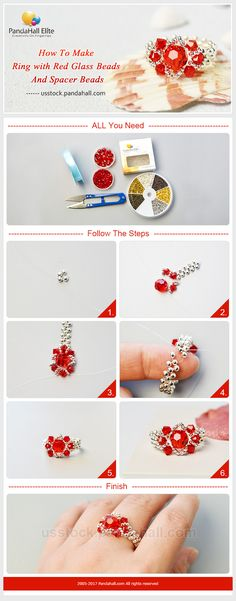 Follow #PandahallElite to make the #ring with #red #glassbeads and #spacerbeads.