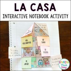 La Casa (The House) Spanish Interactive Notebook Activity High School Spanish, Elementary Spanish, Teaching Spanish, Spanish Teacher, Spanish Vocabulary, Teaching English, Preschool Spanish, Teaching French, Spanish Classroom Activities