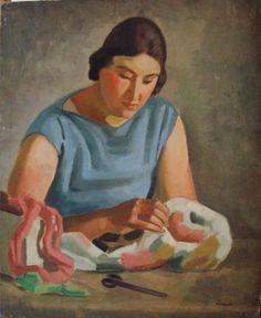 Camille Liausu (1894-1975) - Portrait de femme cousant - Auction