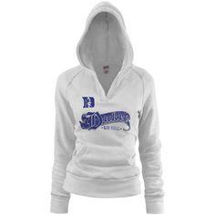 Duke Blue Devils Ladies White Rugby Distressed Deep V-Neck Hoodie Sweatshirt