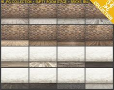 Room Stage #C14 Empty Room Collection 16 JPG Styled Scenes, Creamy & Red Bricks Wall Different Floors, Product display scene