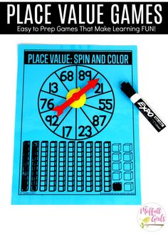 Place Value- Spin and Color: This fun 1st Grade Math activity helps students understand place values and the meaning of a number in a hands-on way!