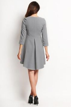 Grey Flared Dress With Longer Back And Cute Frill