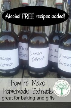 Make your own homemade extracts for delicious baking and gift giving! The possibilities are endless! (Alcohol Free Versions Available) The Homesteading Hippy Homemade Spices, Homemade Seasonings, How To Make Homemade, Homemade Gifts, Homemade Syrup, Homemade Sweets, Mint Extract, Lemon Extract, Vanilla Extract Recipe