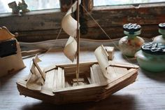 Boat made with Popsicle sticks