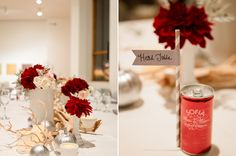 sofia soda paper flag straw escort cards and crimson florals// Photography: Wing Ta of Canary Grey Photography #reception #diy #uniqueweddingideas