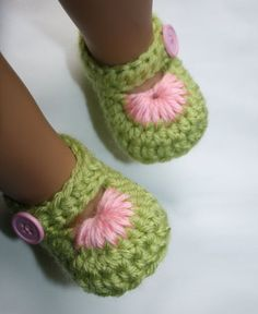 Lime Green and Pink Crochet Baby Booties