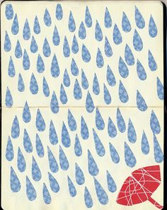 Cut some pattern paper & make yourself a picture! Umbrella Art, Under My Umbrella, I Love Rain, Singing In The Rain, Parasol, Art Journal Inspiration, Illustrations And Posters, Rain Drops, Art Paintings
