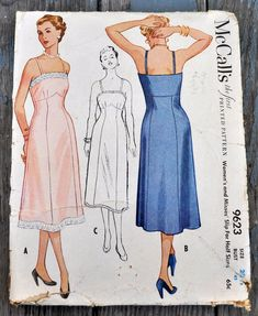 McCall's 9623 RARE 1950s Slip Pattern Princess Seams | Etsy Lingerie Patterns, Sewing Lingerie, Vintage Lingerie, Vintage Wardrobe, Princess Seam, Vintage Colors, Night Gown, Fashion Dolls, Lace Trim