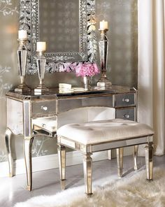 Shimmering Mirrored and Metallic Vanity
