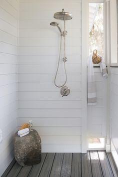 "kohler: ""Rainhead showerhead Flipside handshower Artifacts valve trim The outdoor bathroom accommodates post-swim rinse-offs in rustic style. Explore the home tour. Outdoor Baths, Outdoor Bathrooms, Indoor Outdoor, Outside Showers, Outdoor Showers, Monday Inspiration, Composite Decking, Trex Decking, Pool Houses"