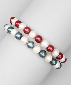 Take a look at this Cranberry & Blue Freshwater Pearl Stretch Bracelet Set by KWAN COLLECTIONS on #zulily today!