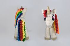 """Rainbow Unicorn amigurumi crochet toy, great for birthday gift or baby shower. Inspired from """"My little Pony - Friendship is magic"""" characters. Created by """"Hedgehog - Amigurumi & Crafts""""."""