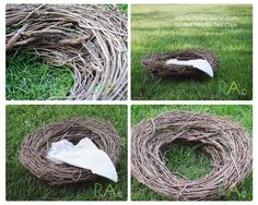 Do It Yourself: Photography Prop Nest.. They have these at Dollar Tree or Walmart.  Add some vines with greens around it, flowers, or even leaves wrapped around it for a touch more and depending on season.