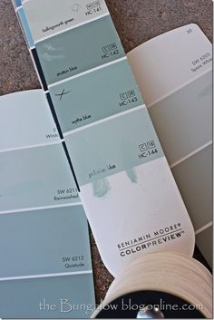 Project board and batten/Paint colors - Palladian Blue.  Benjamin Moore has chosen wythe blue as their color of the year 2012. On the color strip, palladian blue is under it, and is pretty close in color to SW rainwashed and SW sea salt. Sea salt looks a little more gray in this picture.