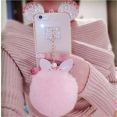 Crystal Mickey Ears Bowknot Fur Ball Phone Cases For iPhone 5 6 7 Plus Samsung. Click visit to buy Fluffy Phone Cases, Girly Phone Cases, Iphone Phone Cases, Phone Cover, Apple Iphone 5, Fur Keychain, Keychains, Phone Accesories, Kawaii Phone Case