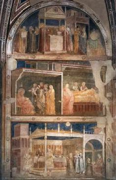 GIOTTO di Bondone Scenes from the Life of St John the Baptist (north wall)  c. 1315 Fresco Peruzzi Chapel, Santa Croce, Florence  The scenes on the north wall are the following (from top): Annunciation to Zacharias; Birth of John the Baptist; Naming of John the Baptist; Feast of Herod.