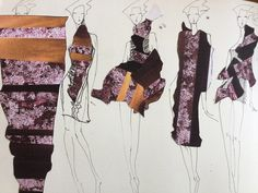 Fashion Sketchbook - fashion design collage drawings; fashion portfolio