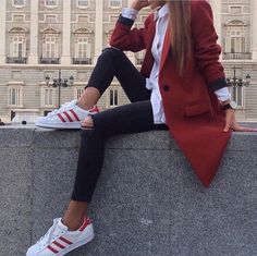 Red colbert with white sneakers perfect combo