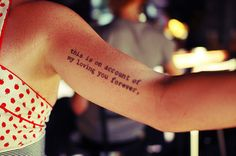I love the idea of typewriter font for a tatoo! Different words and placement of course.