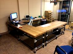 Massive U-Shaped Butcher Block Work Bench with Matching Shelf