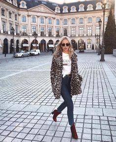 Leopard print Faux fur jacket, Gucci t shirt, burgundy velvet ankle boots | winter fashion outfit | street style