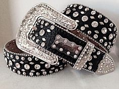 SZ LG Women Western Rhinestone BLING Leather Black Cowgirl Rodeo Crystal Studded #BHW
