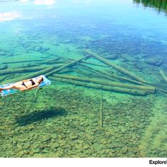 Flat head Lake, Montana has such clear water that it looks shallow but actually is about 350 ft deep!