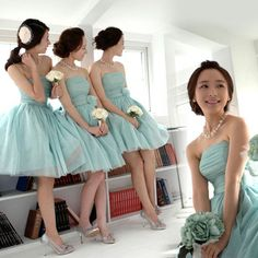 2017 New Cheap Fashion Short Purple Violet Mint Green Bridesmaid Dresses Maid of Honor Dress