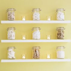 54 home decorating projects - DIY - this is one I liked - Mason jar bathroom display - No bathroom cabinets? Everyday bathroom items become fresh vignettes in mason jars with small scented candles placed between them. Mason Jar Bathroom, Mason Jars, Bird Bathroom, Canning Jars, Bathroom Shelves, Bathroom Cabinets, Bathroom Storage, Bathroom Ideas, Primitive Bathrooms
