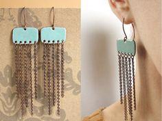 Fringe Earrings Turquoise Blue Enamel On Copper Long by happyment, $39.00