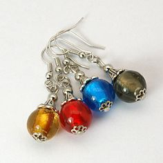Lampwork Beads Earring, with Brass Earring Hook and Tibetan Caps