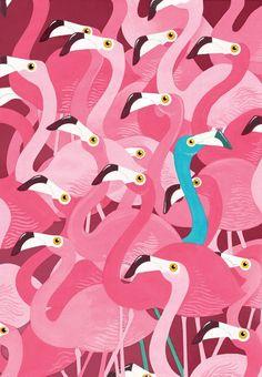 """Saatchi Online Artist: Adam Fisher, Acrylic, 2011 """"Flamingoes"""""""